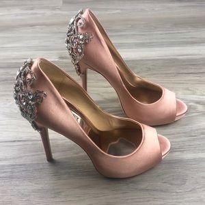 Badgley Mischka Satin Embellished Heels